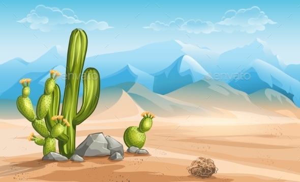 Illustration of Desert with Cactus on a Background - Landscapes Nature