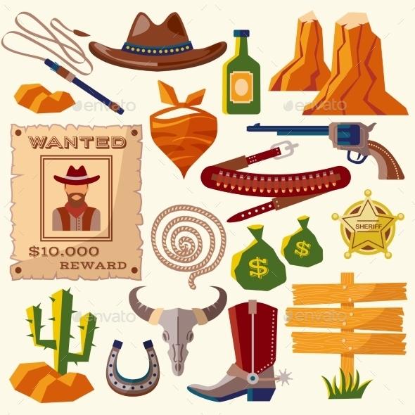 Cowboy Icons - Decorative Vectors