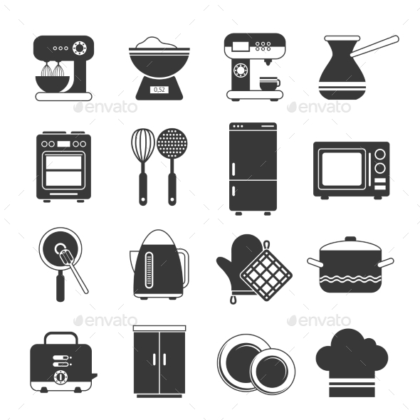 Kitchen Icons Black And White Set - Objects Vectors