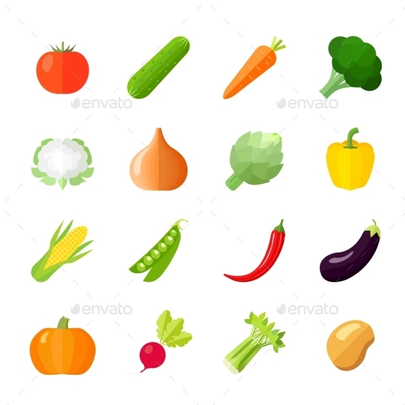 Vegetables Icons Flat - Food Objects