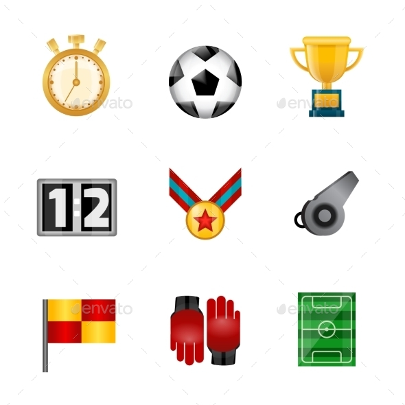 Soccer Realistic Icons - Sports/Activity Conceptual