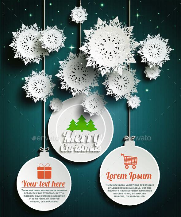 Paper Snowflakes Merry Christmas Balls at Night - Christmas Seasons/Holidays