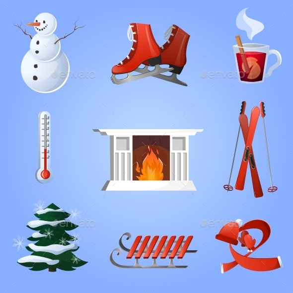 Winter Icons Set - Miscellaneous Seasons/Holidays