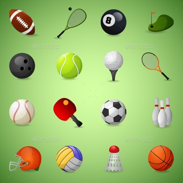 Sports Equipment Icons Set - Sports/Activity Conceptual