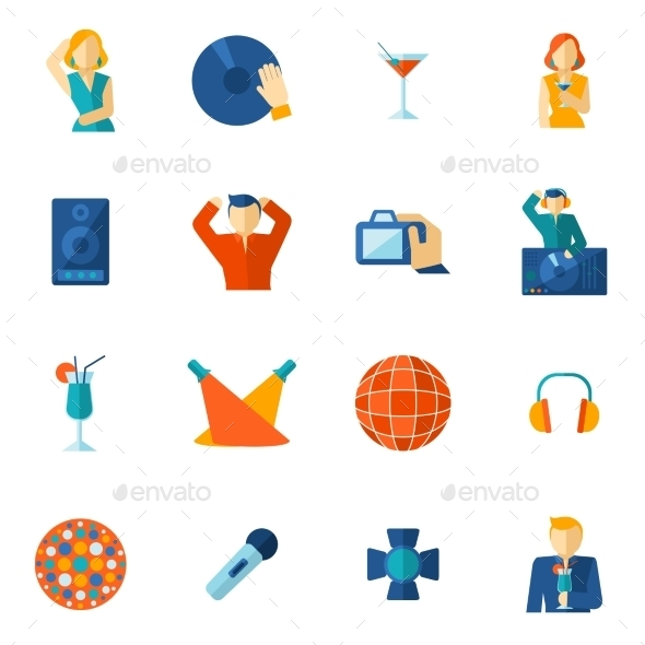 Night Club Icon Flat - Miscellaneous Icons