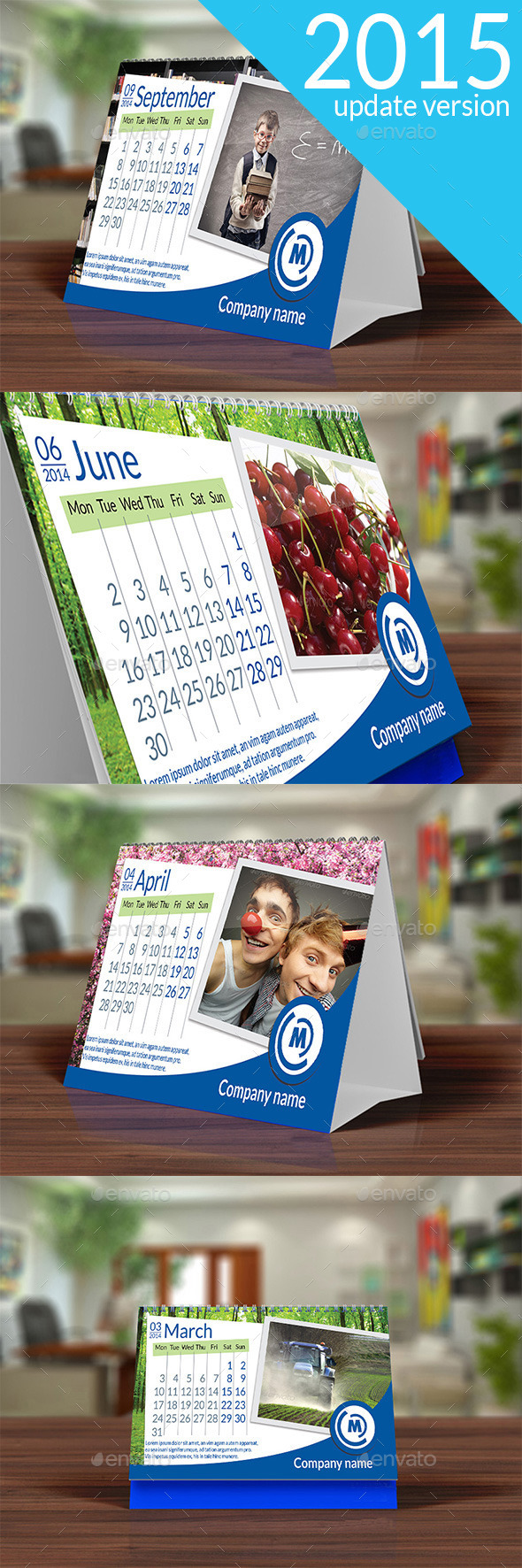 Desk Calendar 2015 Blue - Calendars Stationery