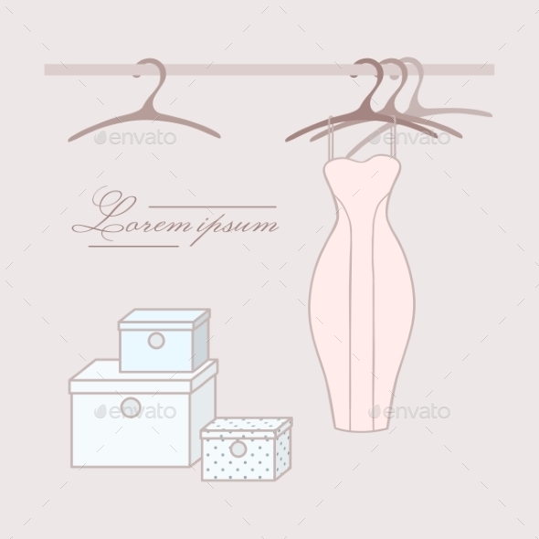 Dress with Hangers in Wardrobe - Backgrounds Decorative