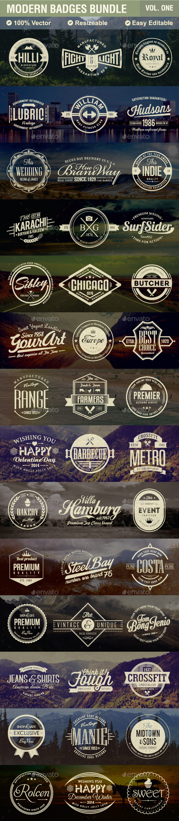 Modern Badges Bundle - Badges & Stickers Web Elements