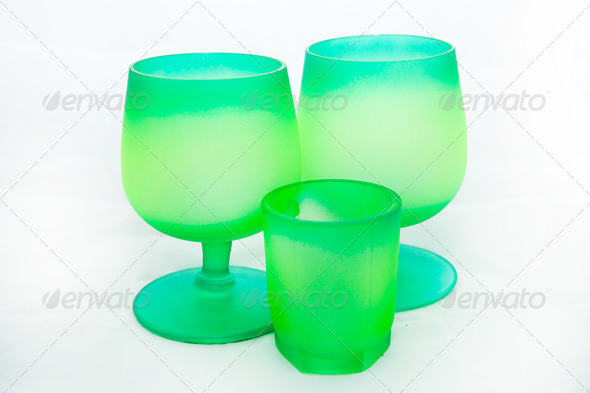 Green wineglasses - Stock Photo - Images