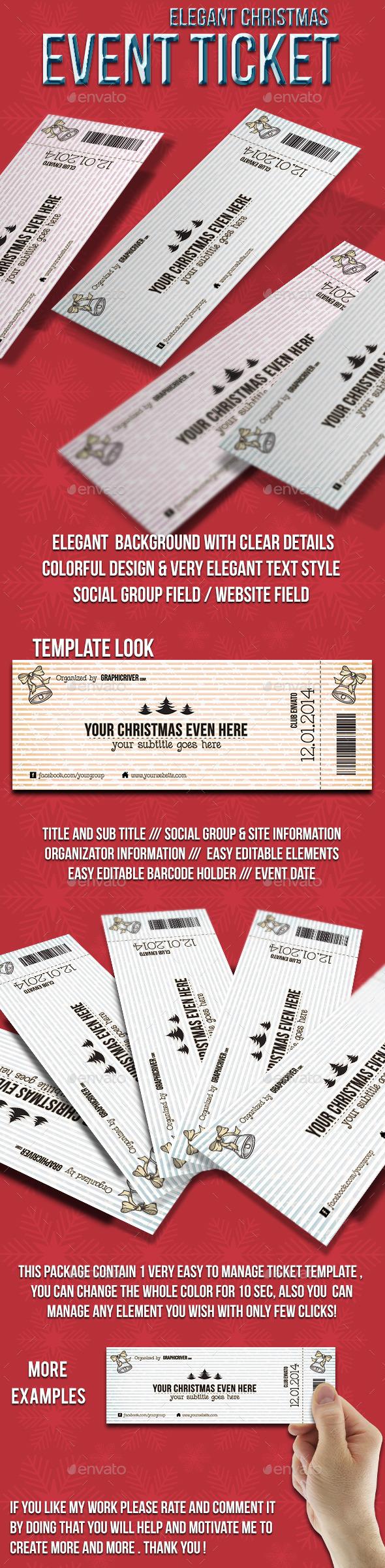 Elegant Christmas event ticket - Cards & Invites Print Templates