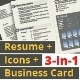 3-in-1 Deal: Resume Template + Icons + Business Card, Independence S Template - GraphicRiver Item for Sale