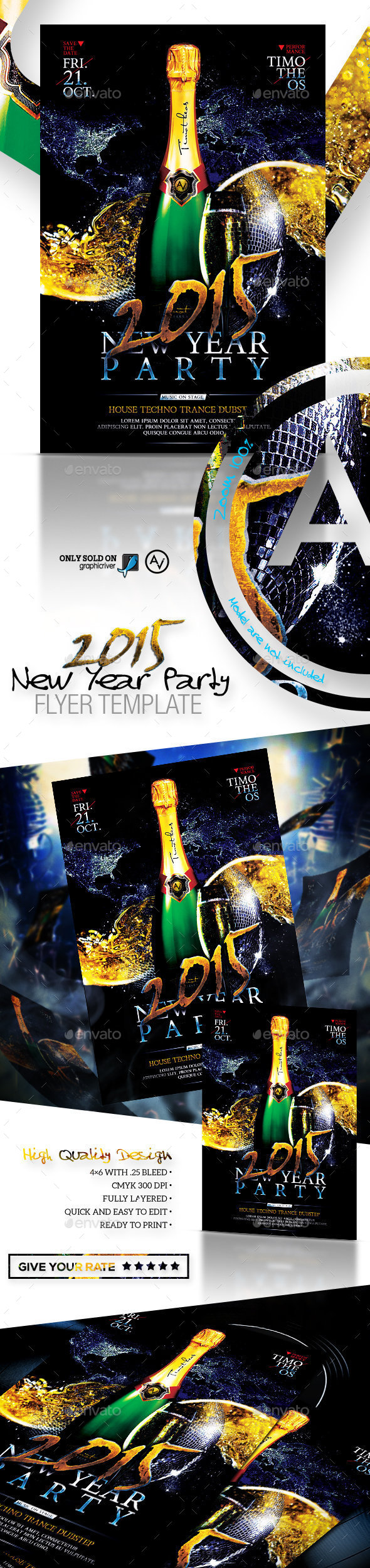 2015 New Year Party Flyer Template - Clubs & Parties Events