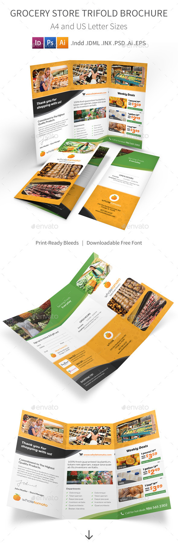 Grocery Store Trifold Brochure - Informational Brochures