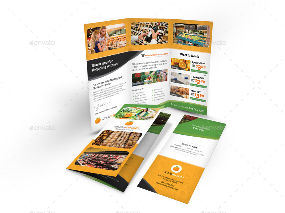 grocery store trifold brochure by mike pantone