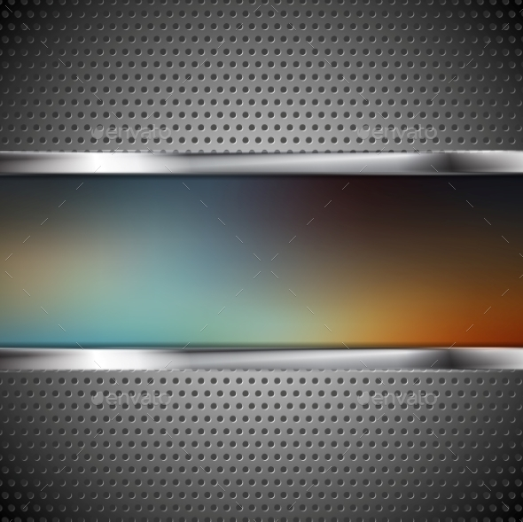 Blurred Banner and Perforated Metal Texture - Backgrounds Decorative