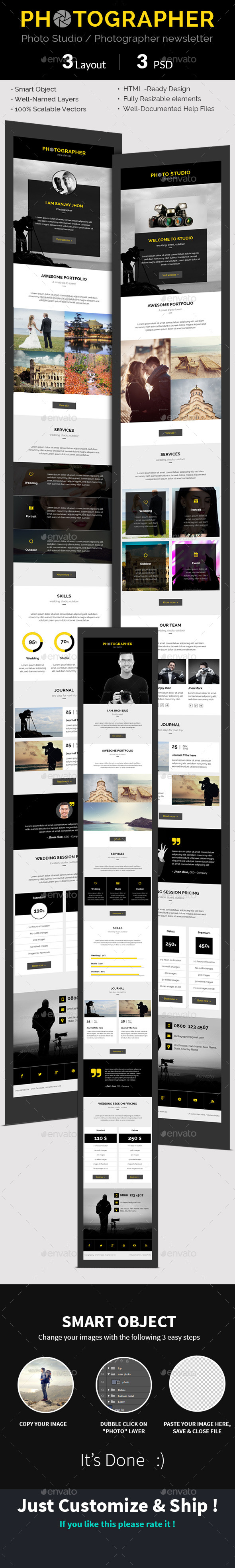 Photographer / Photo Studio e-newsletter PSD Templ - E-newsletters Web Elements
