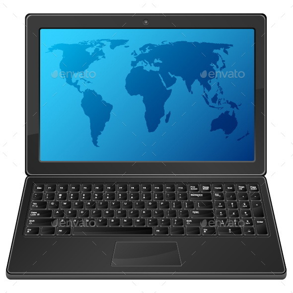 Laptop with World Map - Computers Technology