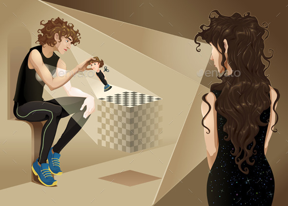 Characters with Chess Board - Conceptual Vectors