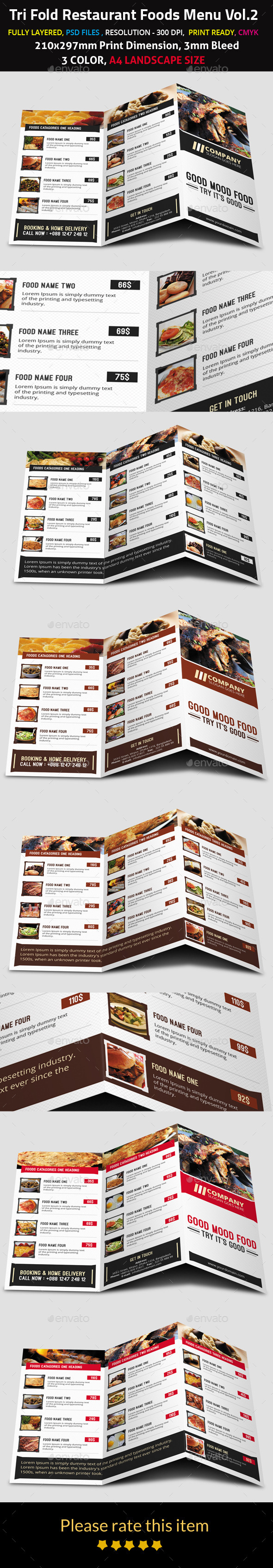 Tri Fold Restaurant Foods Menu Vol.2 - Food Menus Print Templates