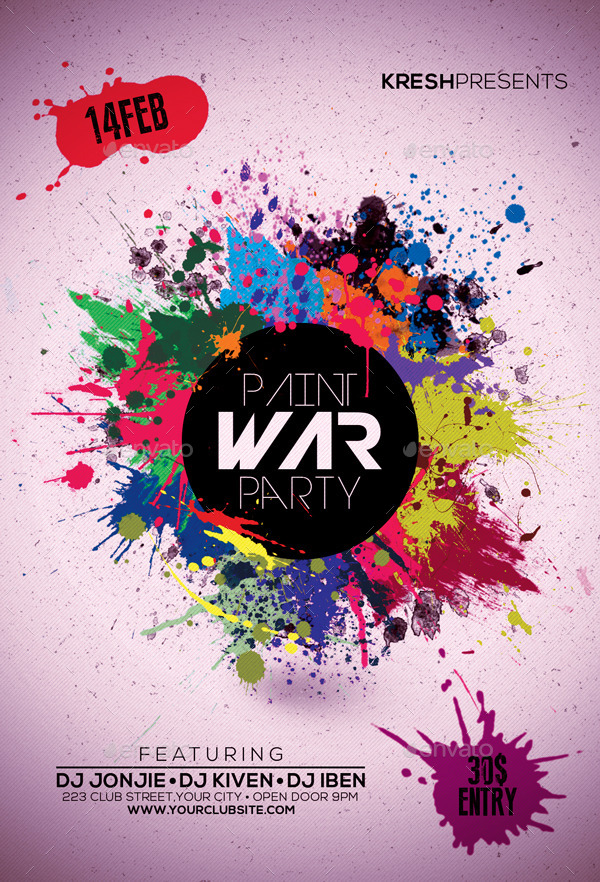 paint war party flyer by leetspeak