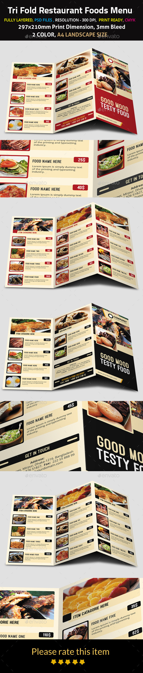 Tri Fold Restaurant Foods Menu - Food Menus Print Templates