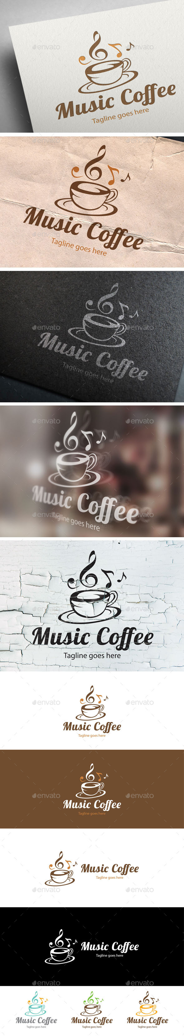 Music Coffee Logo Design - Food Logo Templates
