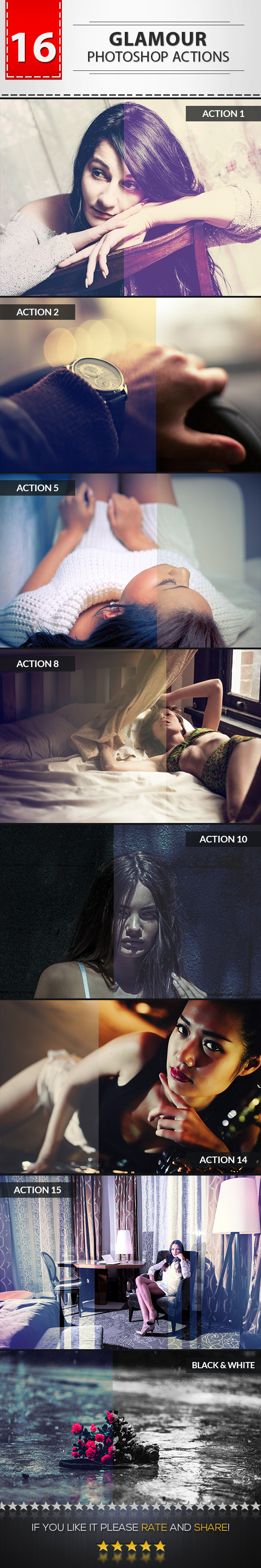 16 Glamour Photoshop Actions - Photo Effects Actions