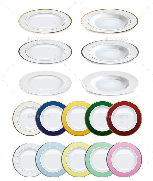 Plates on White Background - Man-made Objects Objects