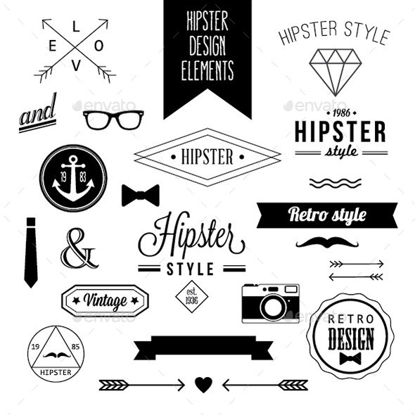 Set of Hipster Design Elements and Labels - Decorative Symbols Decorative