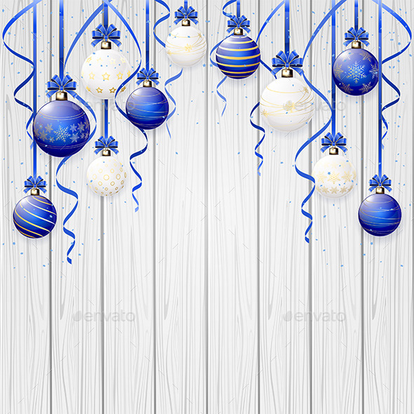 Blue Christmas Balls on Wooden Background - Christmas Seasons/Holidays