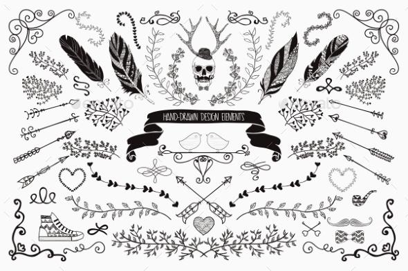 Hand-Drawn Floral Design Elements - Decorative Vectors
