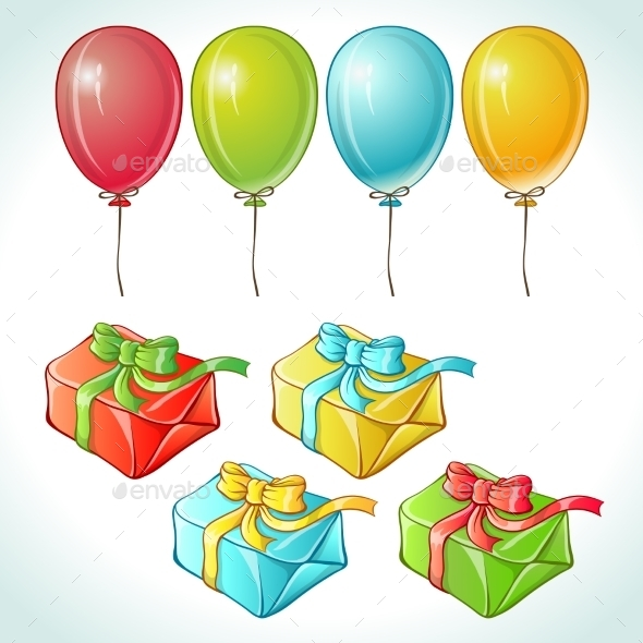 Set of Colorful Balloons and Gifts - Birthdays Seasons/Holidays