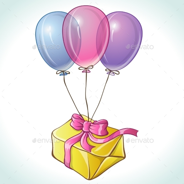 Happy Birthday Card with Balloons and Gift - Birthdays Seasons/Holidays