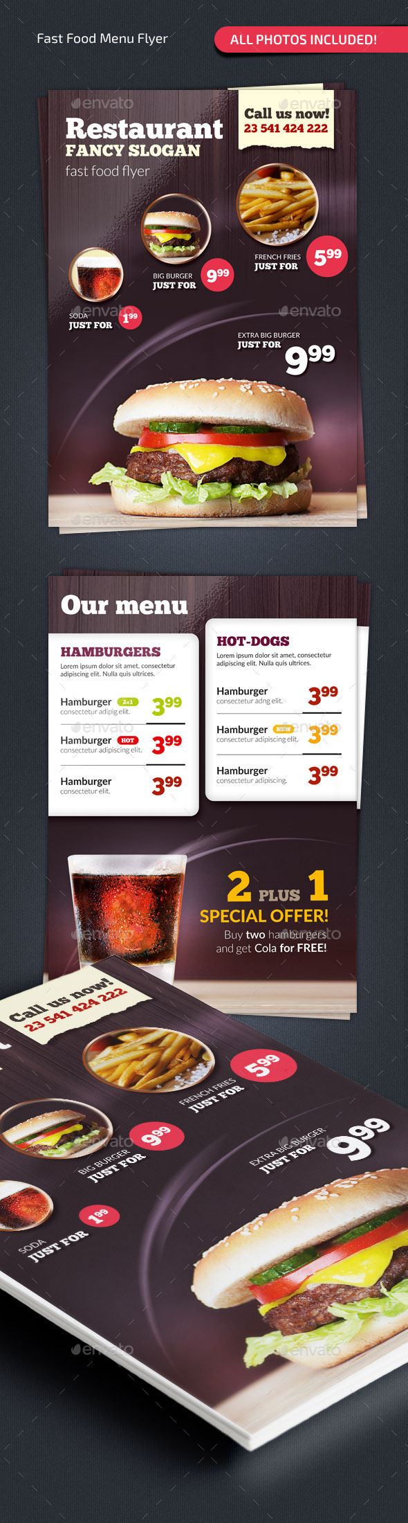Fast Food Menu Flyer #2 - Food Menus Print Templates