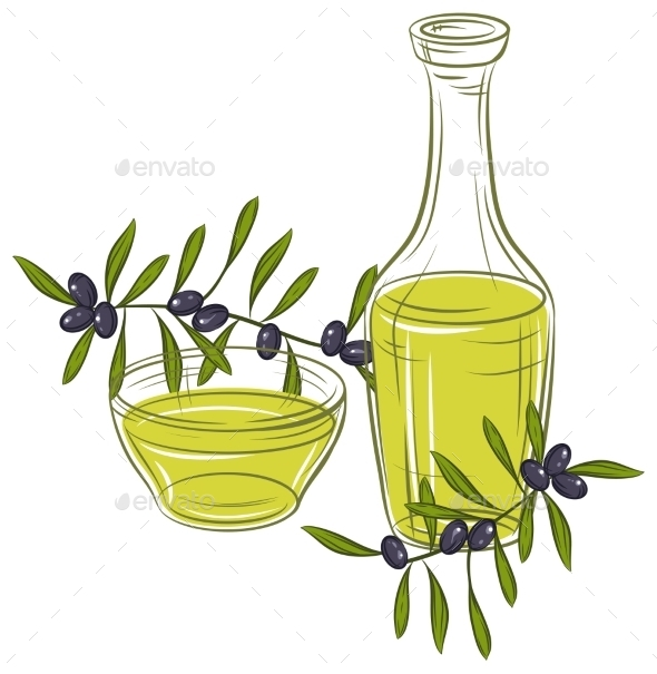 Illustration with Black Olives and Bottle of Oil - Food Objects
