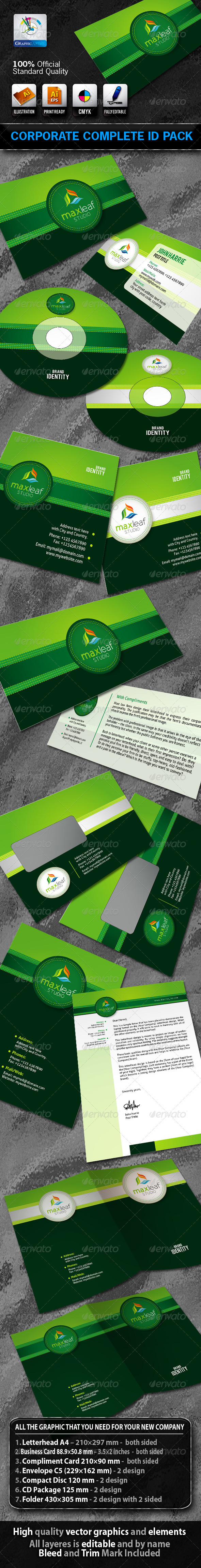 MaxLeafStudio Business Corporate ID Pack + Logo - Stationery Print Templates