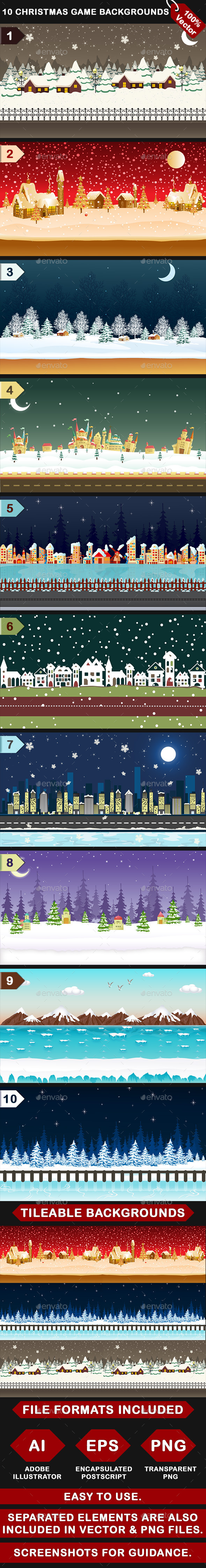 10 Vector Christmas Mobile Game Backgrounds - User Interfaces Game Assets