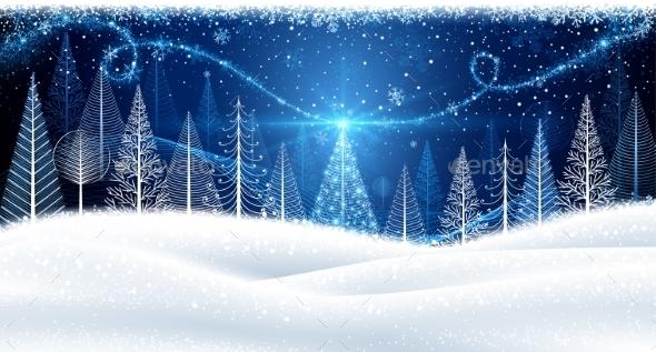 Christmas Background with Magic Trees - Christmas Seasons/Holidays