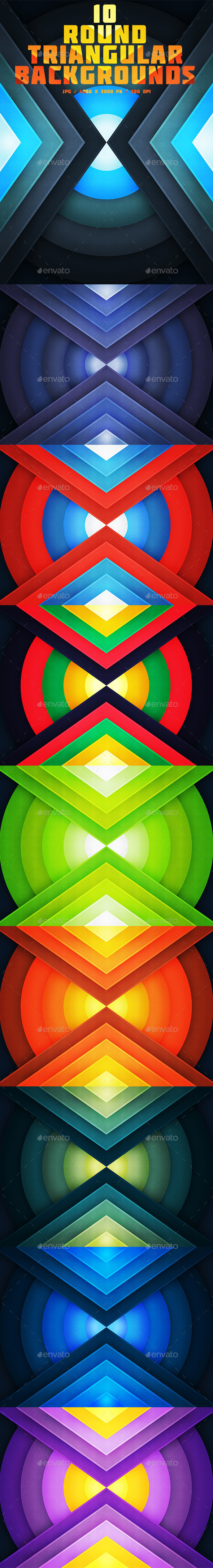 10 Round Triangular Backgrounds - Abstract Backgrounds