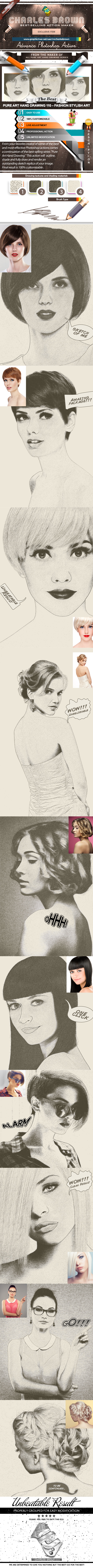 Pure Art Hand Drawing 110 – Fashion Stylish Art - Photo Effects Actions