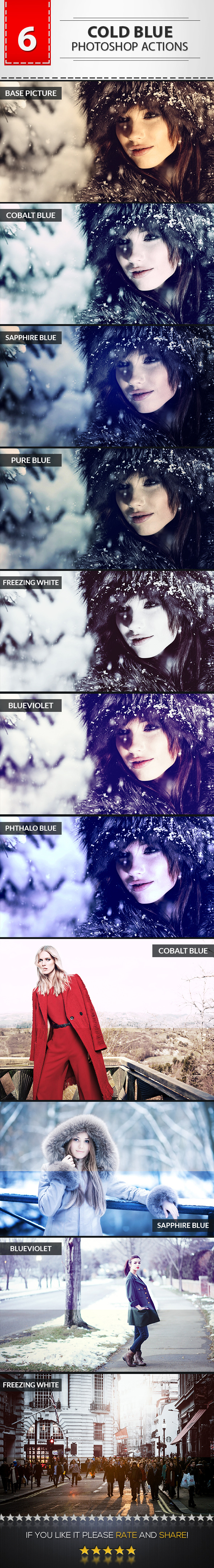 6 Cold Blue Photoshop Actions - Photo Effects Actions