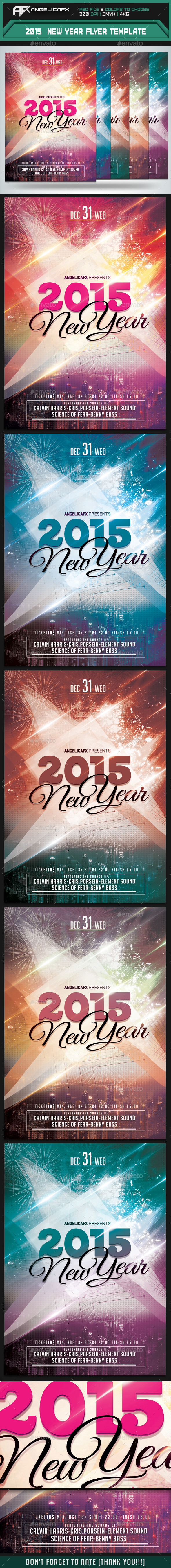 2015 New Year Flyer Template - Flyers Print Templates