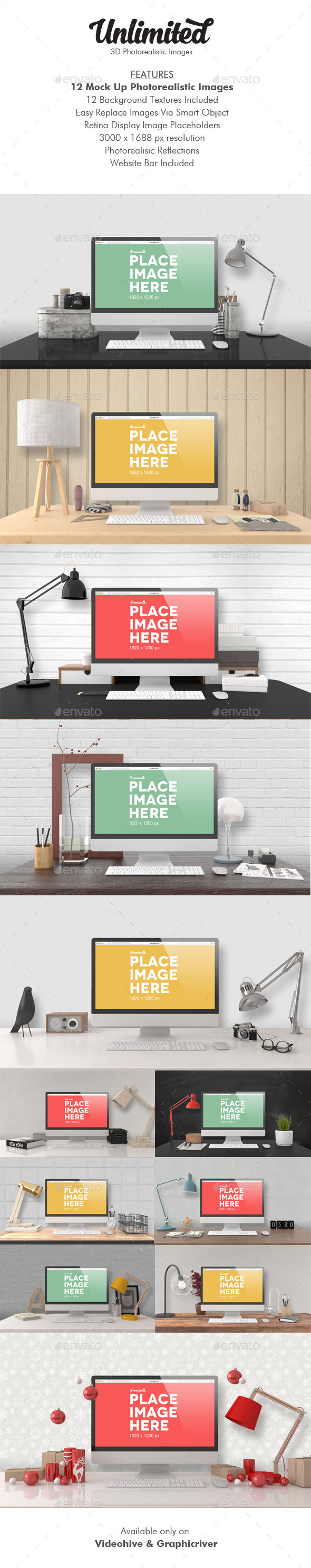 Unlimited Mock Up Images - Monitors Displays