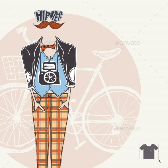 Hipster Background in Retro Style - People Characters