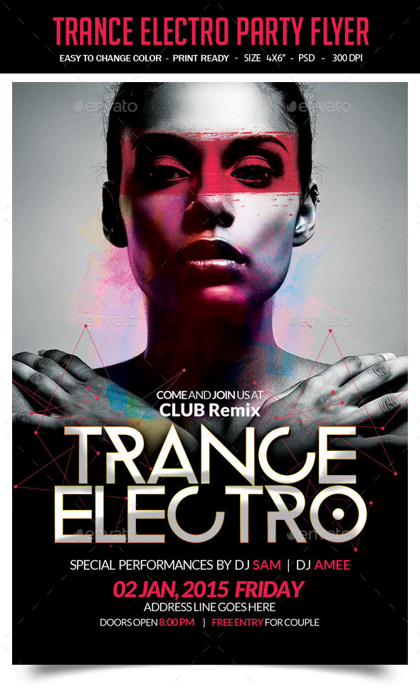 Trance Electro Party Flyer - Clubs & Parties Events