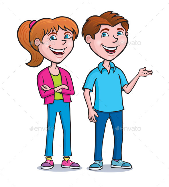 Two Teens Standing and Smiling - People Characters