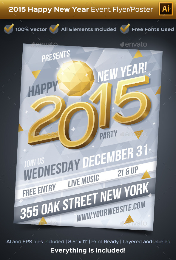 New Year 2015 Party Event Flyer or Poster - Clubs & Parties Events