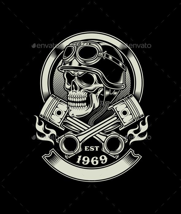 Vintage Biker Skull with Crossed Piston Emblem - Retro Technology