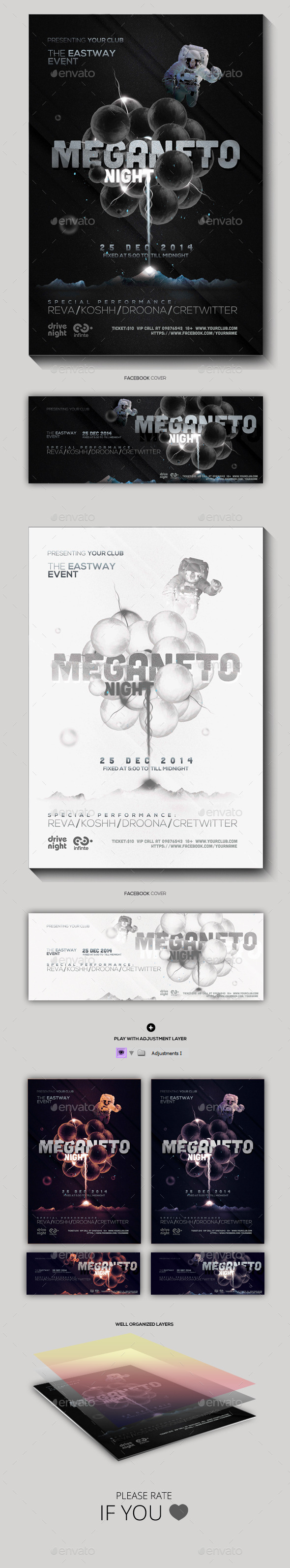 Magneto Night Party Flyer - Clubs & Parties Events