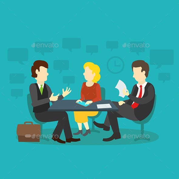 Three People at the Table Interviewing - Business Conceptual